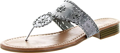 Pierre Dumas Womens Rosetta 1 Flat Sandals, Platinum, Silver, 9