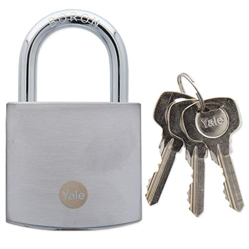 Yale Chrome Finish Padlock with Keys- 50mm Large Heavy Duty Security Lock for Shed, Garage, Gates
