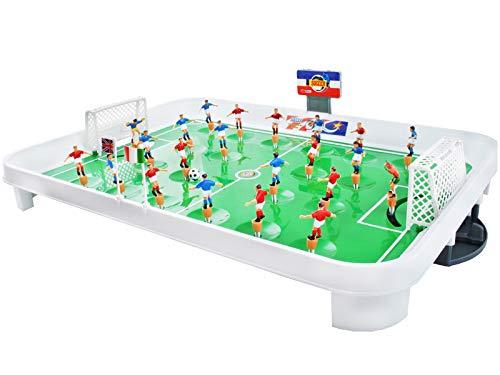 ISO TRADE Tischfußball Mini-Fußballtisch Größe L Kunststoff Kicker Spiel 22 Spieler 24 Flaggen Spaß Unterhaltung 1499