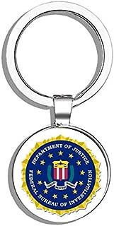 HJ Media Federal Bureau of Investigation FBI Seal Metal Round Metal Key Chain Keychain Ring