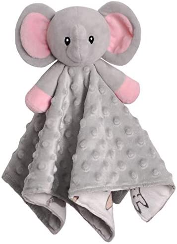 BORITAR Baby Security Blanket for Girls Super Soft Minky Dot Fabric Elephant Lovey Blanket with product image