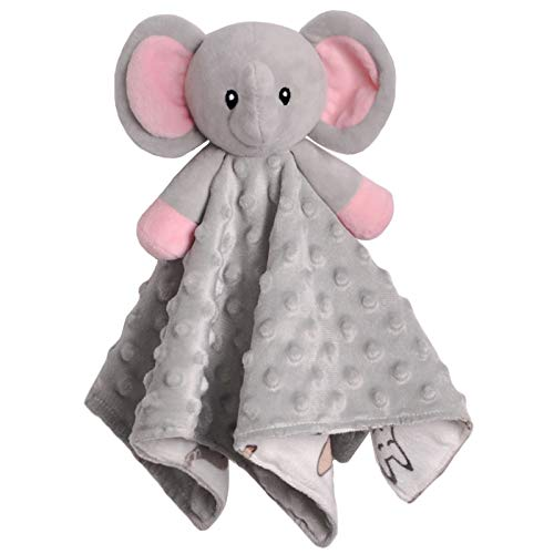 BORITAR Baby Security Blanket for Girls Super Soft Minky Dot Fabric Elephant Lovey Blanket with Lovely Animal Pattern Backing, Stuffed Plush Cuddle Newborn Blankie 14 Inch