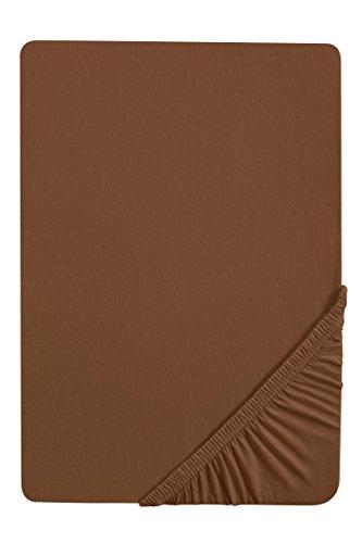 #18 biberna Jersey-Stretch Spannbettlaken, Spannbetttuch, Bettlaken, 140x200 – 160x200 cm, Chocolate