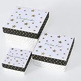 Paper Collection Casa Arredamento Accessori Decorativi Set da 4 Scatole Quadrati in Cartone Dimensioni Varie Motivo Gnomi di Natale