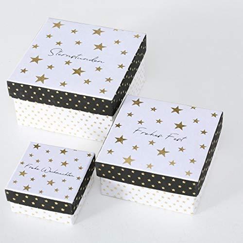 Paper Collection Hogar Muebles Accesorios Decorativos Organización Juego de 3 Cajas Cuadradas de Cartón Diversas Dimensiones Motivo Estrellas Frases Navideñas en Alemán
