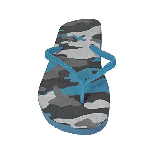 mws 2073 Ciabatte Infradito Donna Fantasia Militare 4 Colori Pantofole Mare in Gomma (36, Celeste)