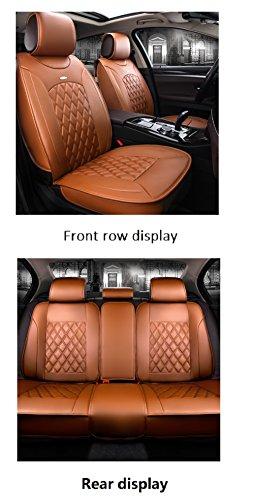 Aoutos Luxe PU-lederen auto stoelhoezen 5 zetels volledige set universele pasvorm oranje