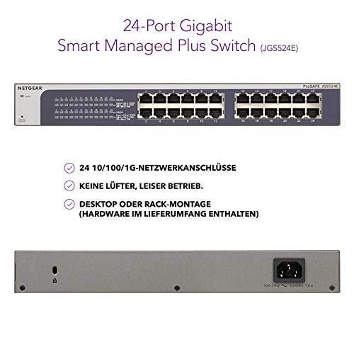 NETGEAR JGS524E 24 Port Gigabit Ethernet LAN Switch Plus (Managed mit IGMP, QoS, VLAN, Desktop oder 19 Zoll Rack-Montage, lüfterloses Metallgehäuse, ProSAFE Lifetime-Garantie)