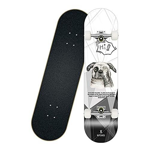 Skateboard Adultos Completa Tablero Longboard 8-PLY Maple DE DISEÑOS COCENOS con -7 Ball-RODAMIENTO Y 45MM 85A Ruedas DE PU, Carga 150 kg, Patines para Principiantes y defesionales fengong