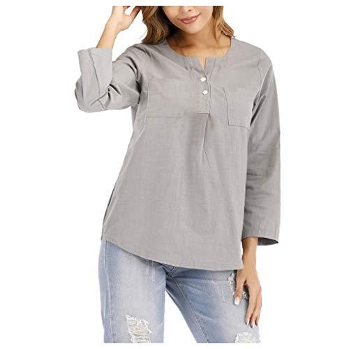 Camisa Lino Mujer 2020 Nuevas Blusa Verano Manga 3/4 Cuello V Túnica Holgadas Camiseta Sueltas Ropa Casual Cómodo Color Sólido Shirt Blouse Yvelands(Gris,L)