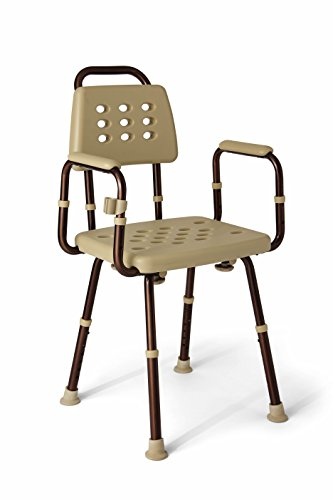 Medline Elements Shower Chair with Back and Arms -Great for Bath Tubs Infused with Antimicrobial Protection, Microban, 1 Count (Pack of 1) -  MDS89745ELMBH