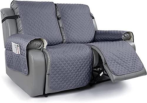 HYLDM 1 Funda Antideslizante para sofá de Dos plazas reclinable para sofá de Cuero, Funda para Mascotas para sofá de Dos plazas reclinable con Correas elásticas, Protector de Muebles Rec