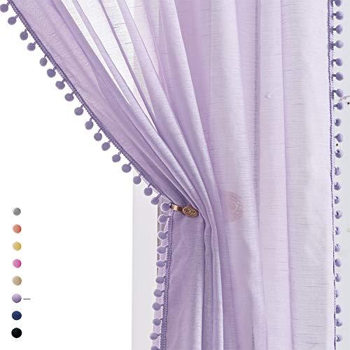"Treatmentex Pom-Pom Sheer Curtains for Kid's Room, 63"" Linen Textured Volie Window Curtain Panels Lilac 52"" w 1 Pair"