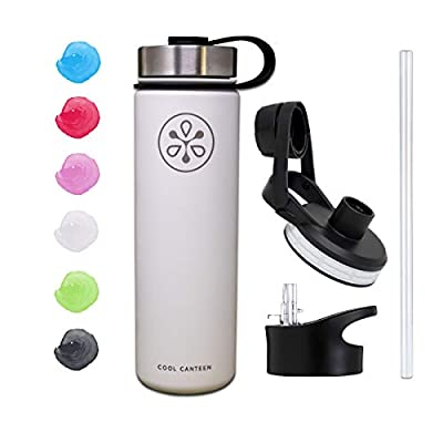 Cool Canteen - Sports Water Bottle (22oz, 32oz, 40oz) - Stainless Steel Vacuum Insulated Flask - Wide Mouth - Double Walled - Three Lids w/ Straw Lid - Multiple Color Options - Modern Hydro Design - Simple Hydro Metal Thermos Flask