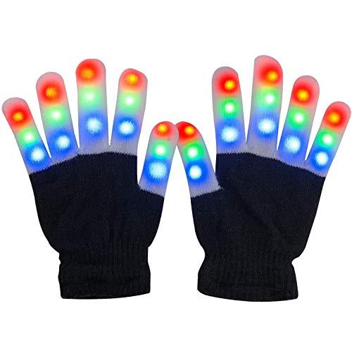 Charlemain Guantes LED, Guantes de Mano Iluminados, Dedos Parpadeantes Coloridos de 6 Modos Brillo para Festivales / Halloween / Navidad / Juegos / Correr / Deportes, Niños Pequeños (5-10 Años)