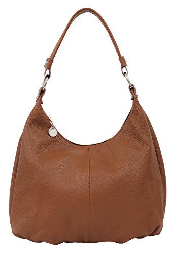 AMBRA Moda borsa in vera pelle, borsa a spalla, borsa hobo, borsa shopper per donna, DIN-A4 GL001 (cognac)