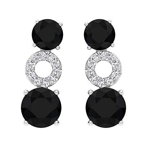 Rosec Jewels 14 quilates oro blanco redonda round-brilliant-shape H-I Black Diamond Ónix negro