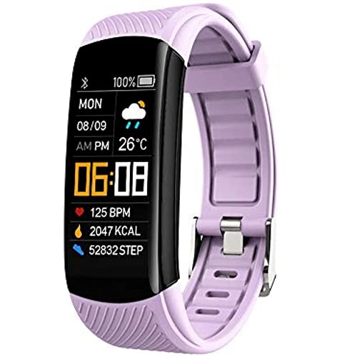 Reloj inteligente, rastreador de actividad física con oxígeno en la sangre, monitor de presión arterial, monitor de sueño, contador de pasos, podómetro (morado)