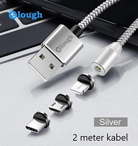 3 in 1 - magnetische oplaadkabel 360° 2 meter kabel -Lightning/USB-C/USB-Micro/alle telefoons - blauwe LED verlichting - NIEUW 2019 -