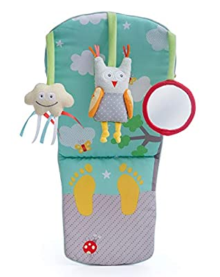 Taf Toys Play & Kick Car Seat Toy   Baby's Activity & Entertaining Center, for Easier Drive and Easier Parenting, Soft Colors to Keep Baby Calm, Lights & Musical, Baby Safe Mirror, Detachable
