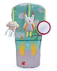 Designed provide entertainment for baby when travelling in a rear-facing car seat. 3 hanging soft toys provide plenty for baby to feel and grab, including a jingle bell cloud, a rattling owl and a baby-safe mirror. Gentle music plays and soft lights ...