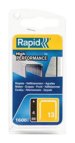 Rapid, 40109518, Agrafes en fil fin N°13, Longueur 4mm, 1650 pièces, Pour le textile et la décoration, Fil galvanisé, Haute performance, Gris