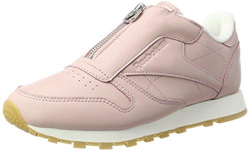 Reebok Damen Classic Leather Zip Sneaker, Pink (Shell Pink/Chalk/Silver Metallic), 40.5 EU