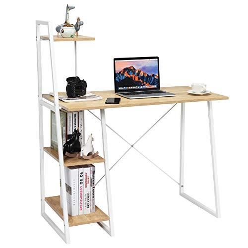 COSTWAY Computertisch mit Regale, Schreibtisch mit Metallrahmen, Arbeitstisch Bürotisch PC-Tisch