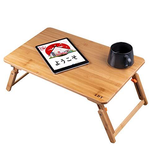ローテーブル ノートパソコンデスク 竹製 ベッドテーブル ベッドテーブル 折りたたみ式 2021新たな改良 多機能 pcローデスク 角度&高さ調節可能 (竹製傾斜なし-50*30cm-A)