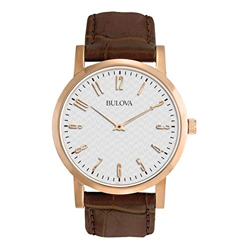Bulova Herren Analog Quarz Uhr mit Leder Armband 97A106