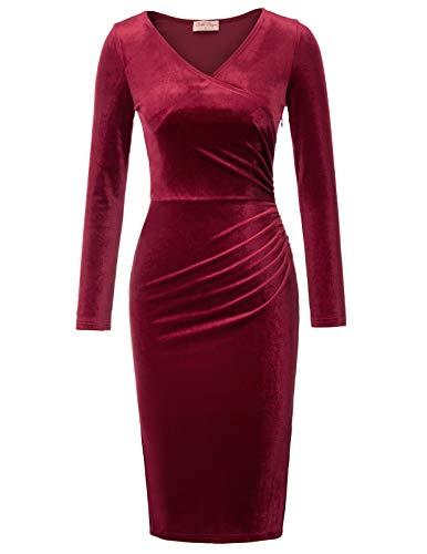 Belle Poque Rockabilly Pencil Kleid Damen festlich winterkleid weinrot Knielang Bodycon etuikleid L...