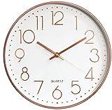 Orologio da Parete Orologio da Parete Tondo a Batteria Decorativo Silenzioso Senza Ticchettio per Home Office Scuola Soggiorno Camera da letto Cucina (Oro rosa bianco-B)