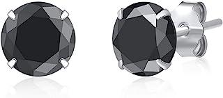 DARSHRAJ JEWELLERS 925 Pure Sterling Silver(Chandi) Black Zircon Piercing Stud Earrings For Girls|Women|Men|Baby Girls | Boys