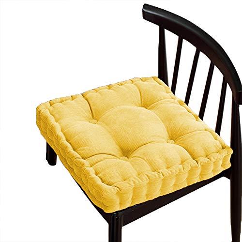 Cuscino per seduta in cotone spesso, comodo e resistente, per sedia da pavimento, per sala da pranzo, cucina, patio, sedia (40 x 40 cm, giallo)