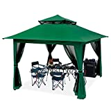 ABCCANOPY 13'x13' Canopy with Mosquito Netting Outdoor Gazebo 169 sq.ft Pop up Camping Shelter, Green