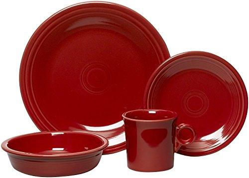 Fiesta 16-Piece, Service for 4 Dinnerware Set, Scarlet