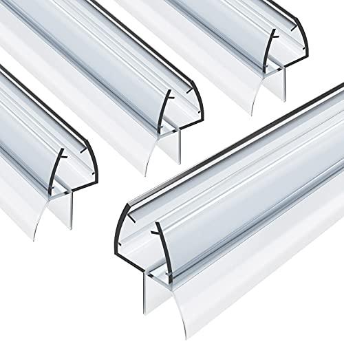 Duschtür Dichtung, 4 x 80cm MUDEELA Duschdichtung Ersatzdichtung für 6mm 7mm 8mm Glastür Stärken, Wasserabweisende Duschkabinen-Dichtung mit optimal angeordneten Gummilippen