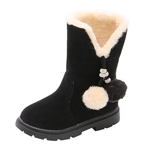DWQuee ❤️ Kinder Plus Samt Schneeschuhe, Kinder Baby Mädchen Winter Warm Solid Hairball Schnee Kurze Stiefel Schuhe
