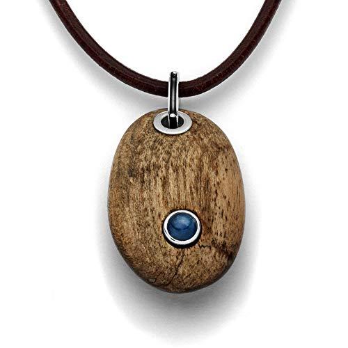 Anhänger Holzkiesel oval aus echtem Treibholz – Unikat | Kyanit - groß | Fassung aus 925 Sterling Silber | Charm P3128