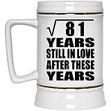 9th Anniversary Square Root of 81 Years Still In Love After Years - Beer Stein Jarra de Cerveza, de Cerámica - Regalo para Cumpleaños, Aniversario, Día de Navidad o Día de Acción de Gracias