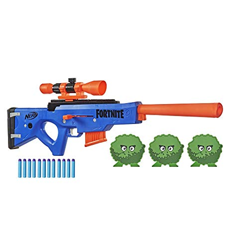 NERF Fortnite BASR-R Bolt Action Blaster -- Includes 3 Bush Targets, Removable Scope, Removable 6-Dart Clip, 6 Official Elite Darts (Amazon Exclusive)