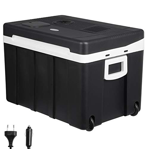 WOLTU KUE003sz Kühlbox, Thermo-Elektrische Mini-Kühlschrank, 50L Isolierbox Erwärmen, warmhalten oder kühlen, 12V&220V, für Auto und Camping, schwarz