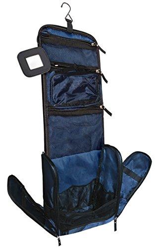 VAN BEEKEN Großer Kulturbeutel Kulturtasche zum Aufhängen für Männer Frauen I Reise Kosmetiktasche groß I Waschtasche mit Flüssigkeitsbehälter Schlafbrille I Waschbeutel Damen Herren Blau
