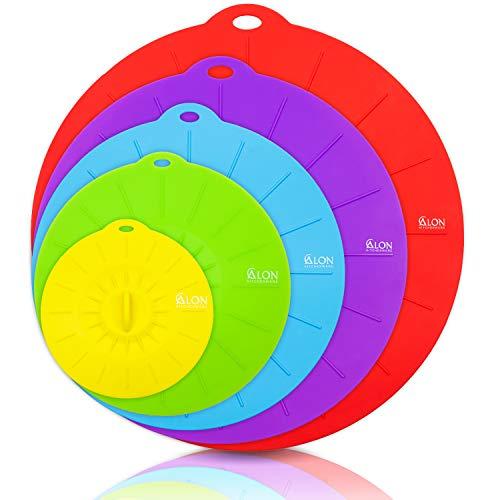 Alon Premium 5-Set, Silikondeckel, Mikrowellen Abdeckung, Spülmaschinengeeignet, für Teller, Tassen, Schüsseln, Topf etc.