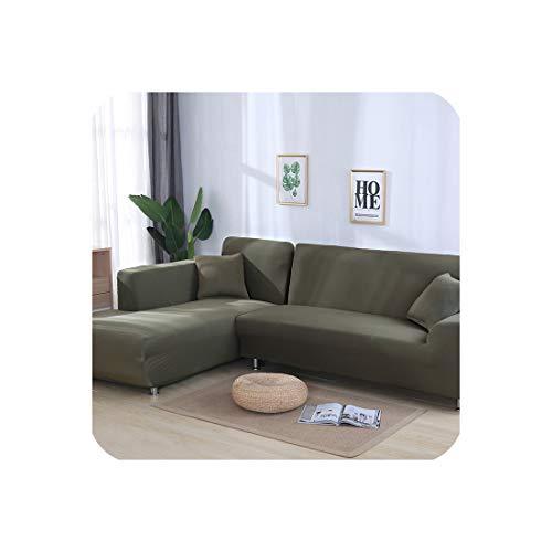 Funda de sofá elástica en forma de L para sala de estar, chaise longue, funda de sofá seccional, funda de sofá esquinera, forma de L, elástica, 2 unidades, Grey Green, Pillowcase x 2