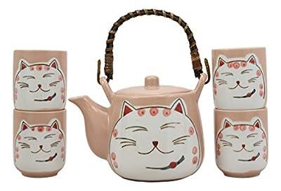 Ebros Gift Japanese Design Maneki Neko Lucky Beckoning Cat Matte Pink 20oz Ceramic Tea Pot and Cups With Strainer Set Service For 4 Excellent Home Decor Teapots Housewarming Birthday Feline Cats Gifts