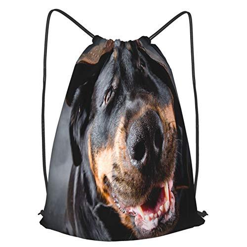 AndrewTop Mochilas de Cuerdas Unisex,Hembra de un perro de raza Rottweiler en una gorra,Impermeable Mochila con Cordón,adulto Niños exterior Mochilas Casual,yoga Bolsas de Gimnasia