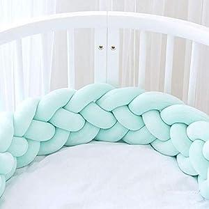 Parachoques de cama Trenzado hecho a mano Cuna Parachoques Bebé Guardia Principal Parachoques Nudo Trenza Almohada Cojín Almohada Decorativa para Bebé Guardería Cuna ropa de cama (Size : 4M)
