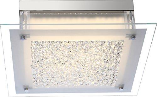 Globo - Plafoniera cromata a 1 LED Leah, altezza 10,4 cm x larghezza 36 cm x profondità 36 cm