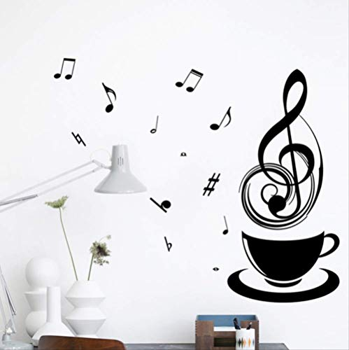 Muurstickers DIY Art Sticker Decal Mural, Muurstickers Relaxing Muziek Thee Koffiebeker Zwart DIY Public Office Store Keuken Decoratieve Home Decal Mode muursticker